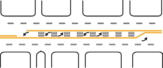 If you are turning from the left side, left-turn lane, enter the left lane on the right of the yellow dividing line.