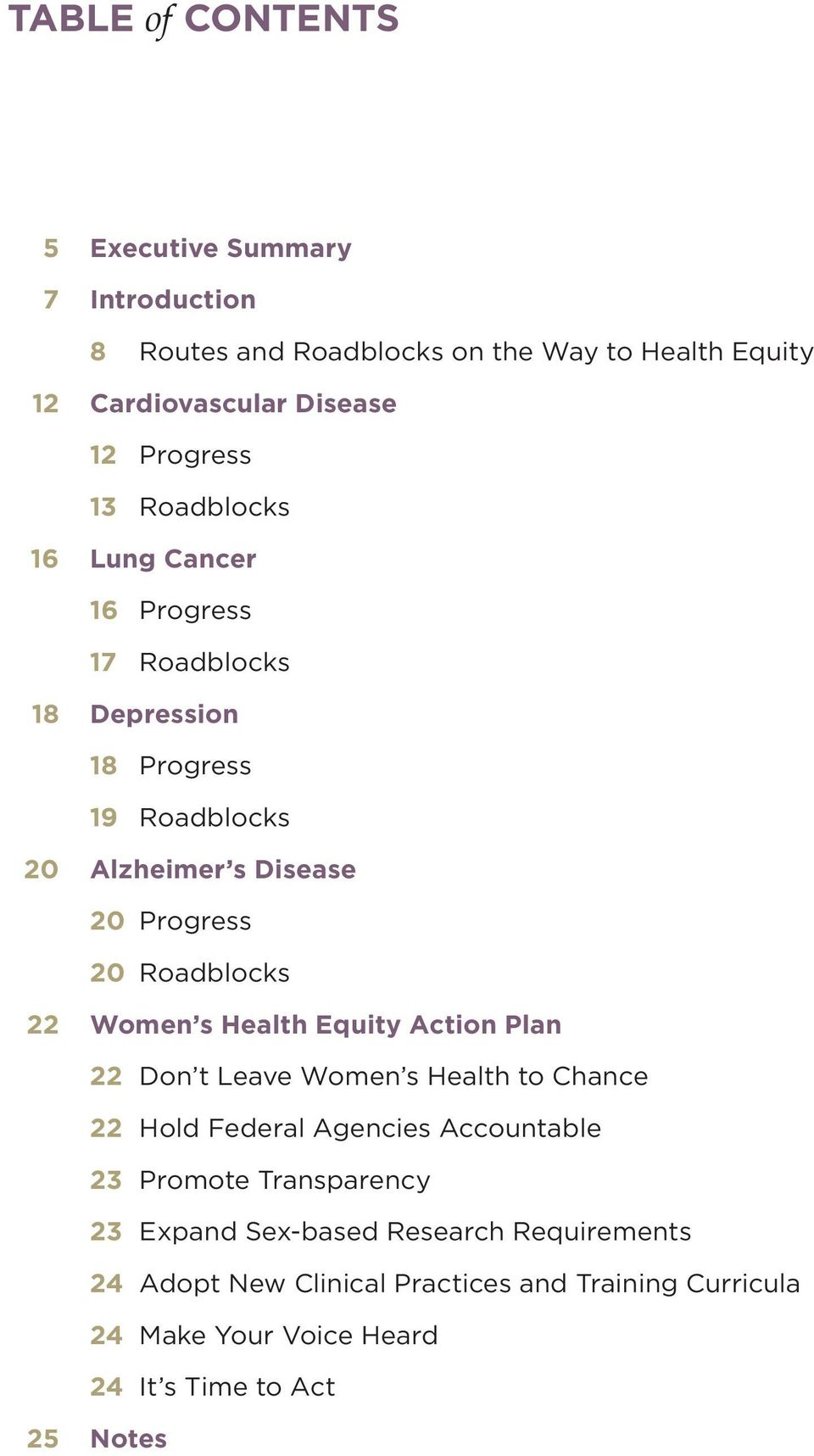 Roadblocks 22 Women s Health Equity Action Plan 22 Don t Leave Women s Health to Chance 22 Hold Federal Agencies Accountable 23 Promote