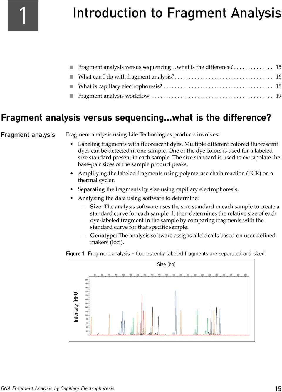 Fragment analysis Fragment analysis using Life Technologies products involves: Labeling fragments with fluorescent dyes. Multiple different colored fluorescent dyes can be detected in one sample.