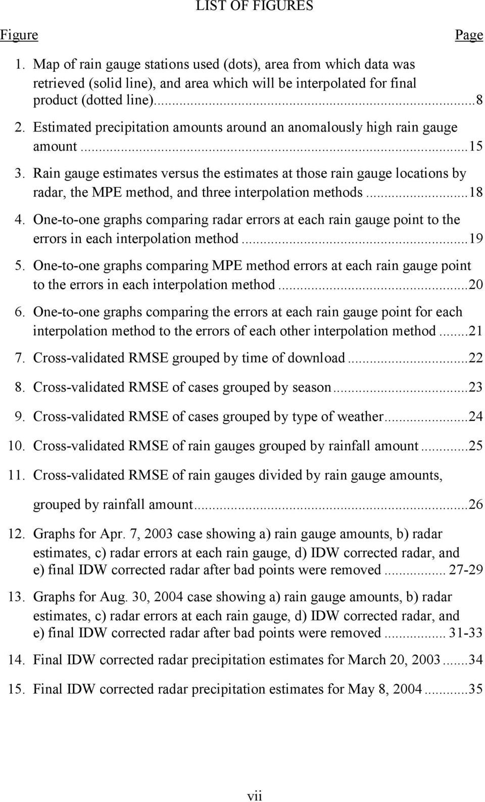 Rain gauge estimates versus the estimates at those rain gauge locations by radar, the MPE method, and three interpolation methods...18 4.