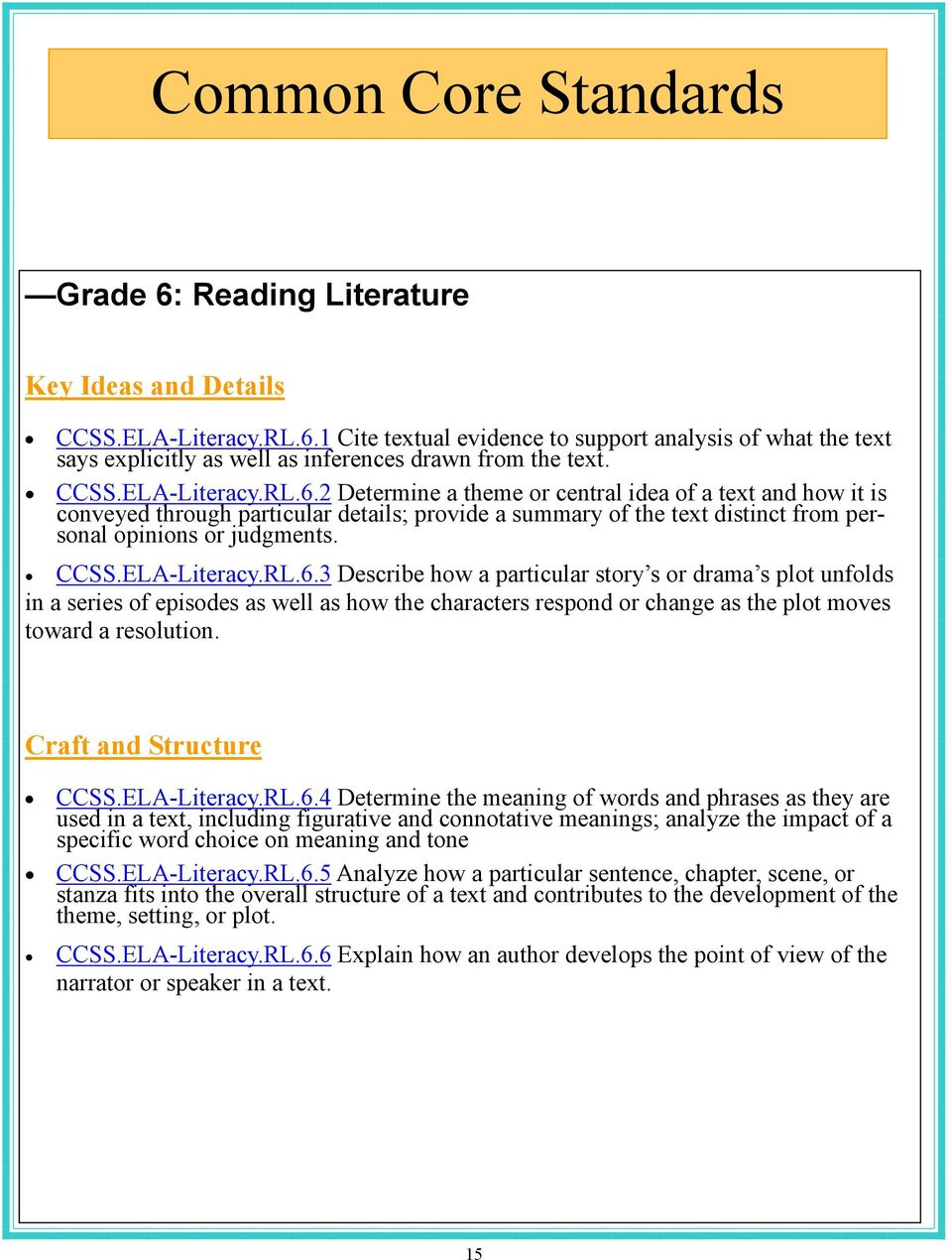 CCSS.ELA-Literacy.RL.6.3 Describe how a particular story s or drama s plot unfolds in a series of episodes as well as how the characters respond or change as the plot moves toward a resolution.