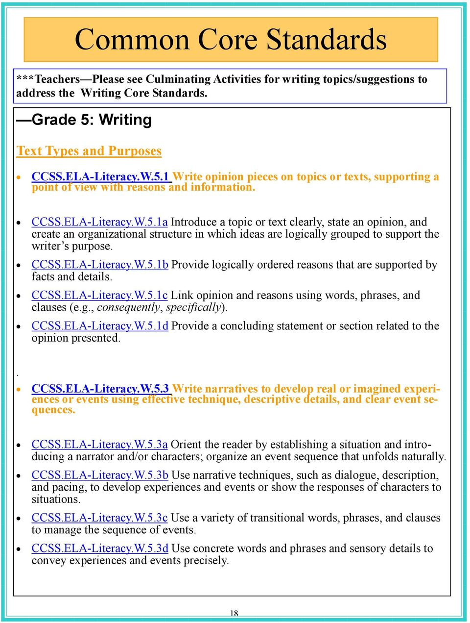 1 Write opinion pieces on topics or texts, supporting a point of view with reasons and information. CCSS.ELA-Literacy.W.5.