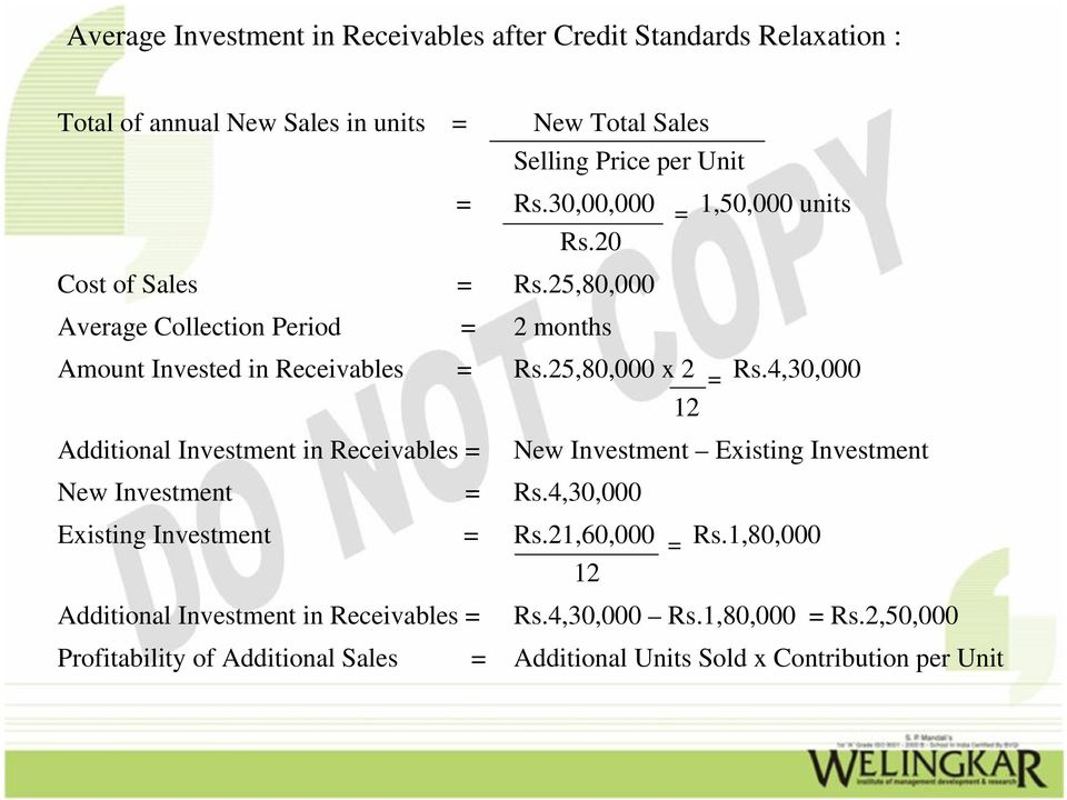 4,30,000 12 Additional Investment in Receivables = New Investment Existing Investment New Investment = Rs.4,30,000 Existing Investment = Rs.21,60,000 = Rs.