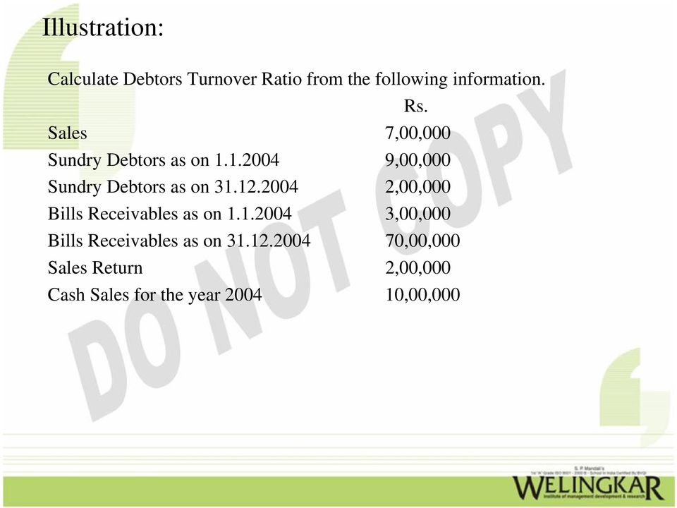 2004 2,00,000 Bills Receivables as on 1.1.2004 3,00,000 Bills Receivables as on 31.