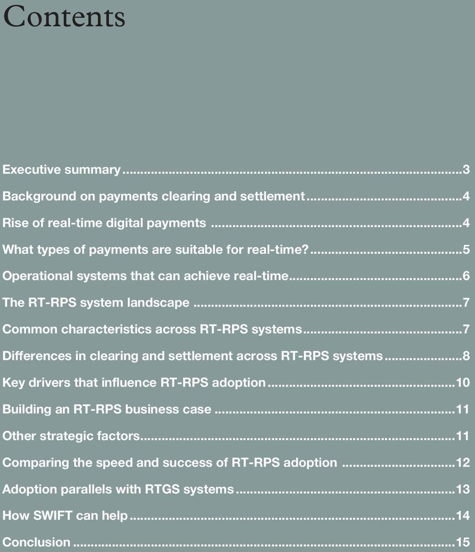 ..7 Common characteristics across RT-RPS systems...7 Differences in clearing and settlement across RT-RPS systems.