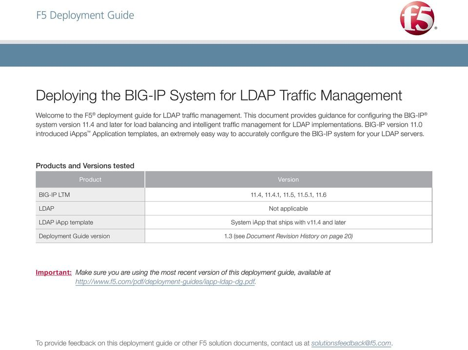 0 introduced iapps Application templates, an extremely easy way to accurately configure the BIG-IP system for your LDAP servers. Products and Versions tested Product Version BIG-IP LTM 11.4, 11.4.1, 11.