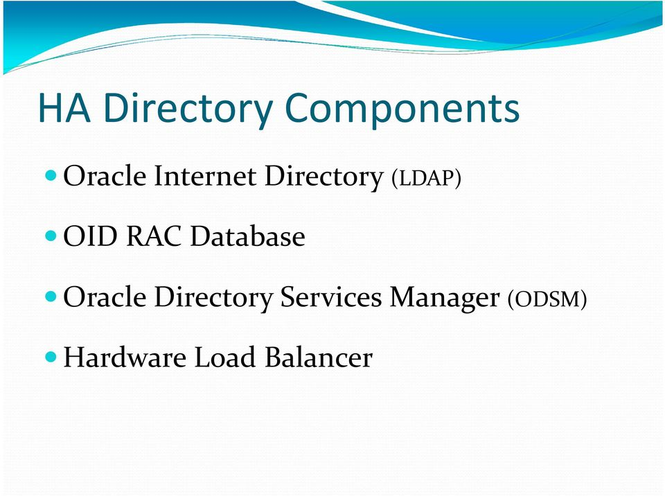 Database Oracle Directory Services