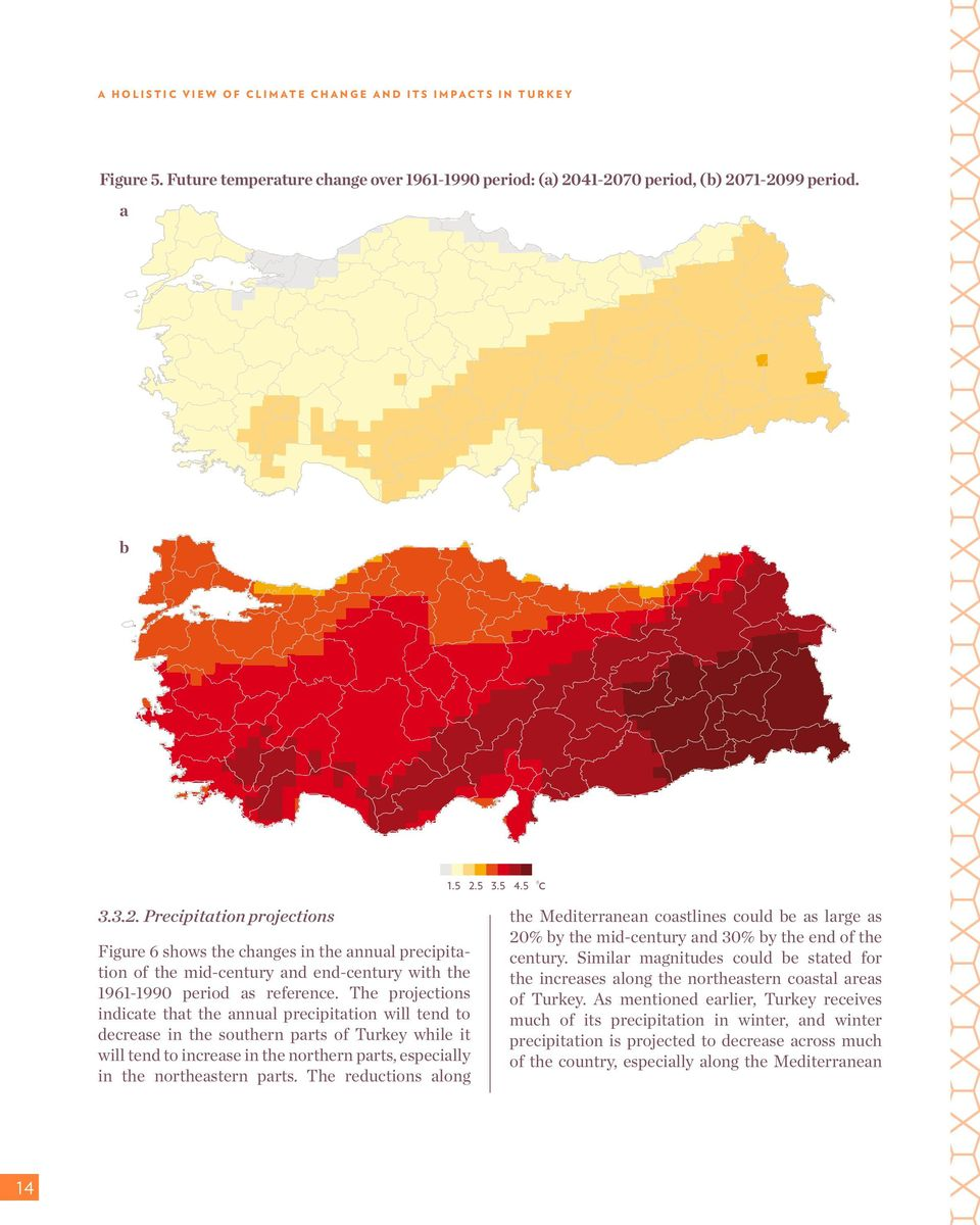 The projections indicate that the annual precipitation will tend to decrease in the southern parts of Turkey while it will tend to increase in the northern parts, especially in the northeastern parts.
