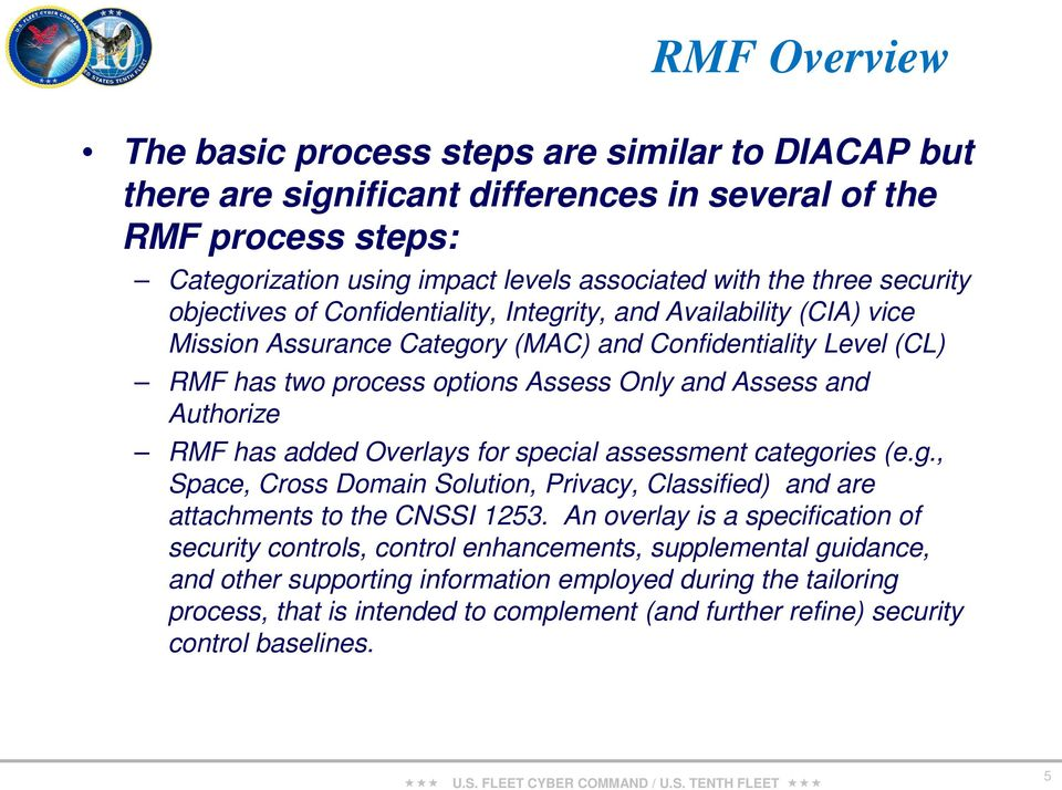 Authorize RMF has added Overlays for special assessment categories (e.g., Space, Cross Domain Solution, Privacy, Classified) and are attachments to the CNSSI 1253.