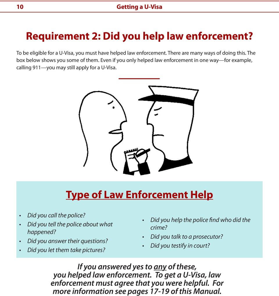Type of Law Enforcement Help Did you call the police? Did you tell the police about what happened? Did you answer their questions? Did you let them take pictures?