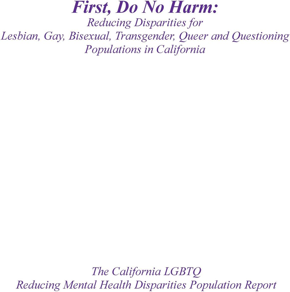 Questioning Populations in California The