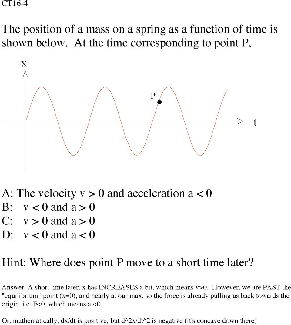 Hint: Where does point P move to a short time later? Answer: A short time later, x has INCREASES a bit, which means v>0.