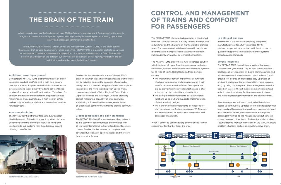 The BOMBARDIER* MITRAC* Train Control and Management System (TCMS) is the brain behind the muscles that powers Bombardier s rolling stock.