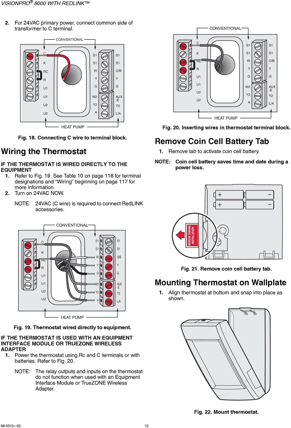 24vac thermostat wiring visionpro 8000 with redlink - pdf