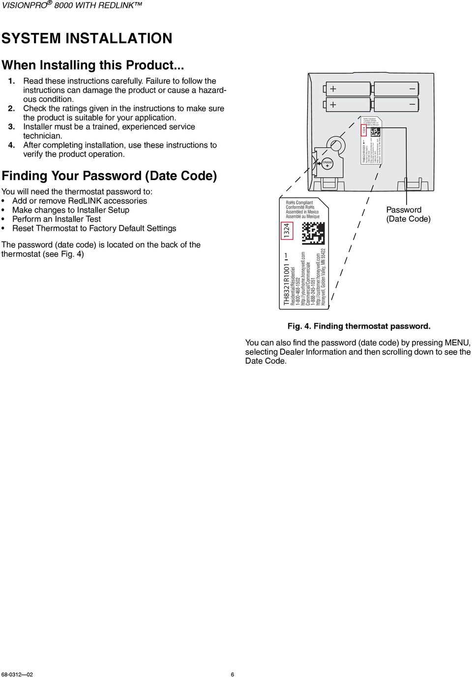 Th8321r1001 Reset Honeywell Vision Pro 8000 Wiring Diagram Visionpro With Redlink Pdf