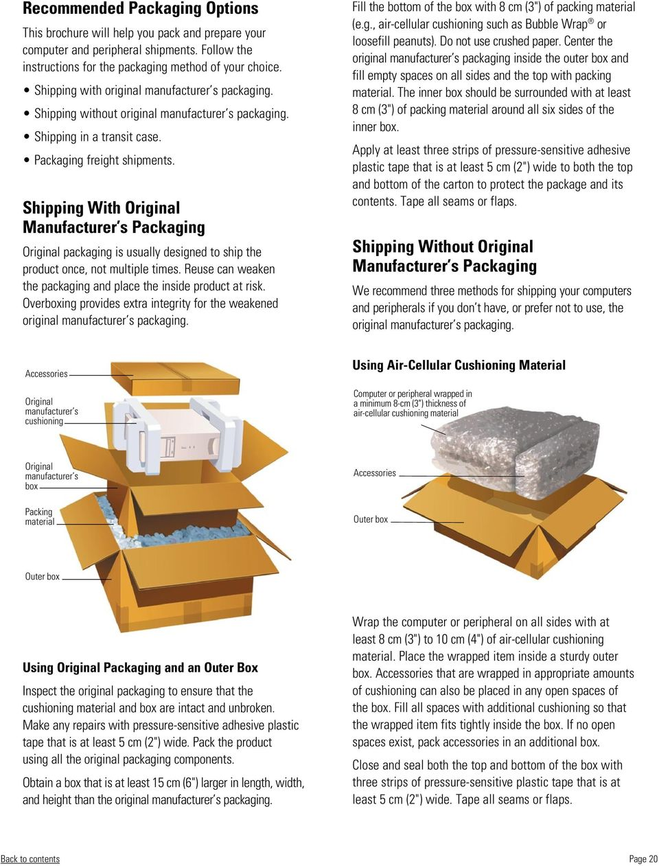 Shipping With Original Manufacturer s Packaging Original packaging is usually designed to ship the product once, not multiple times.