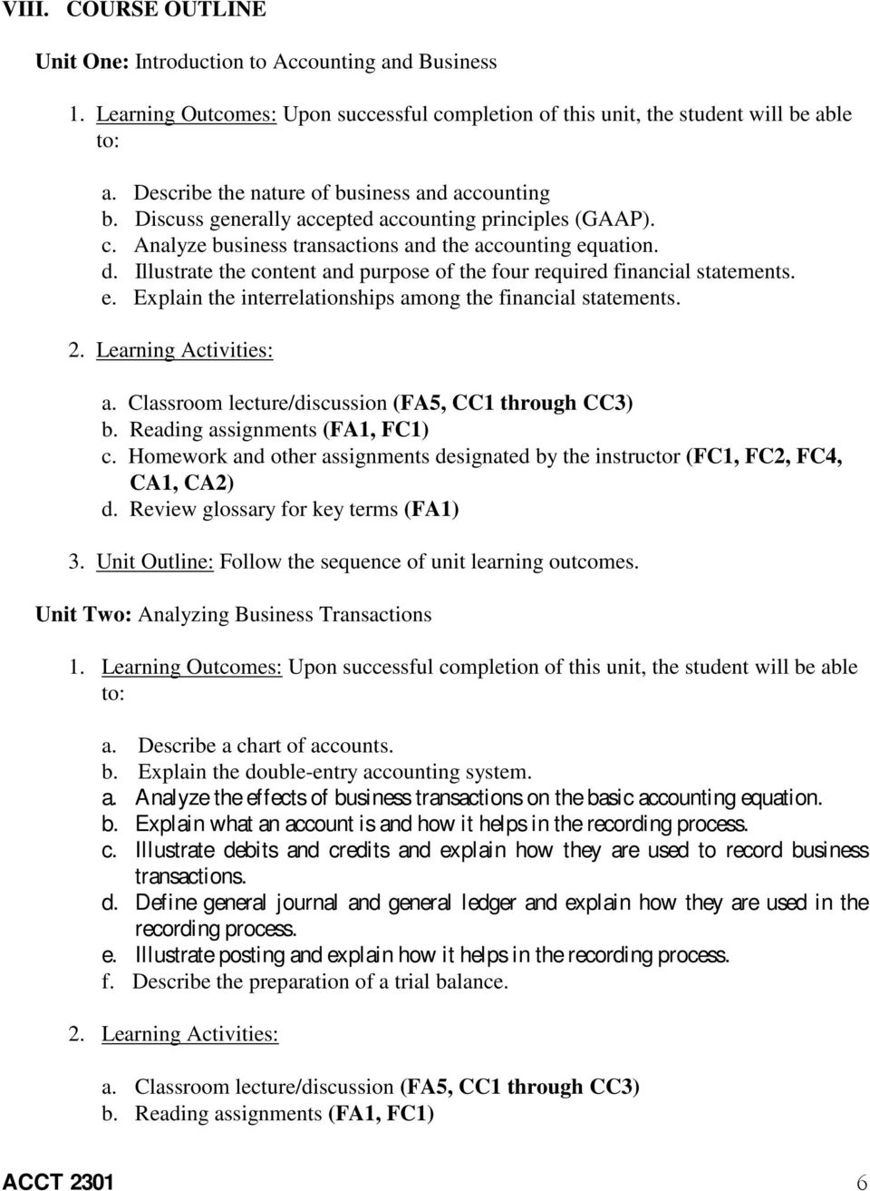 Unit Two: Analyzing Business Transactions a. Describe a chart of accounts. b. Explain the double-entry accounting system. a. Analyze the effects of business transactions on the basic accounting equation.