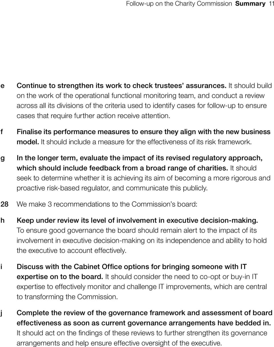 require further action receive attention. Finalise its performance measures to ensure they align with the new business model. It should include a measure for the effectiveness of its risk framework.