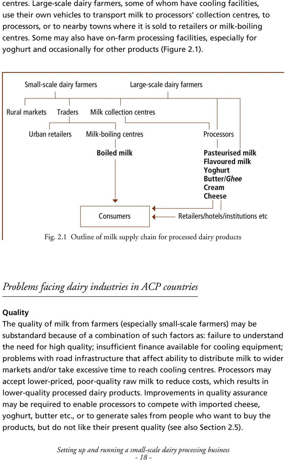 retailers or milk-boiling  Some may also have on-farm processing facilities, especially for yoghurt and occasionally for other products (Figure 2.1).