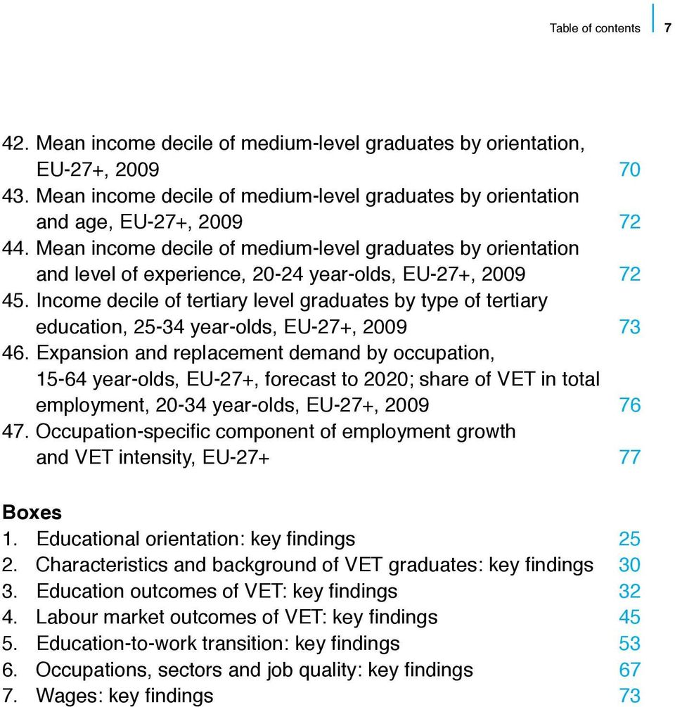 Income decile of tertiary level graduates by type of tertiary education, 25-34 year-olds, EU-27+, 2009 73 46.