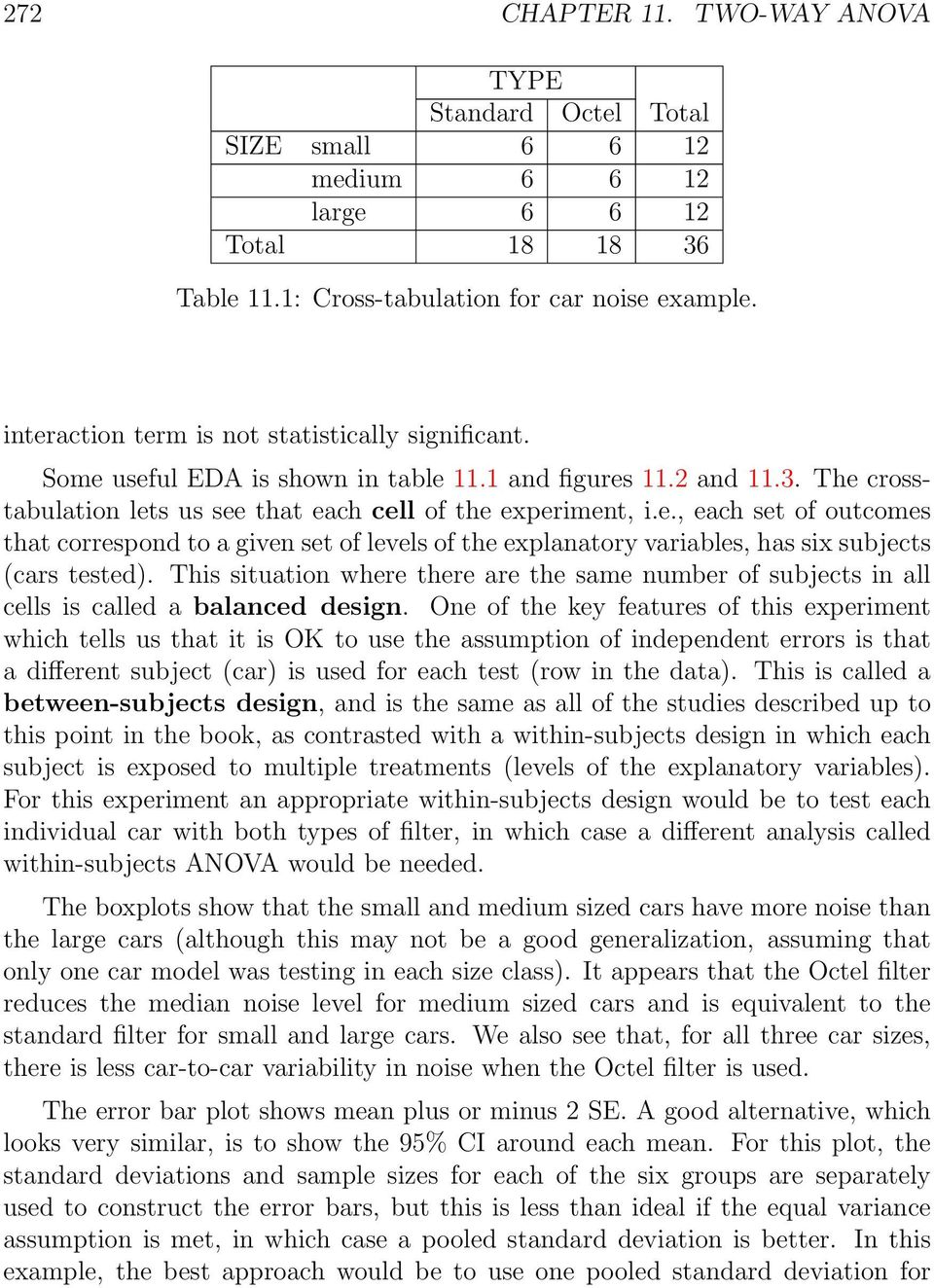 This situation where there are the same number of subjects in all cells is called a balanced design.