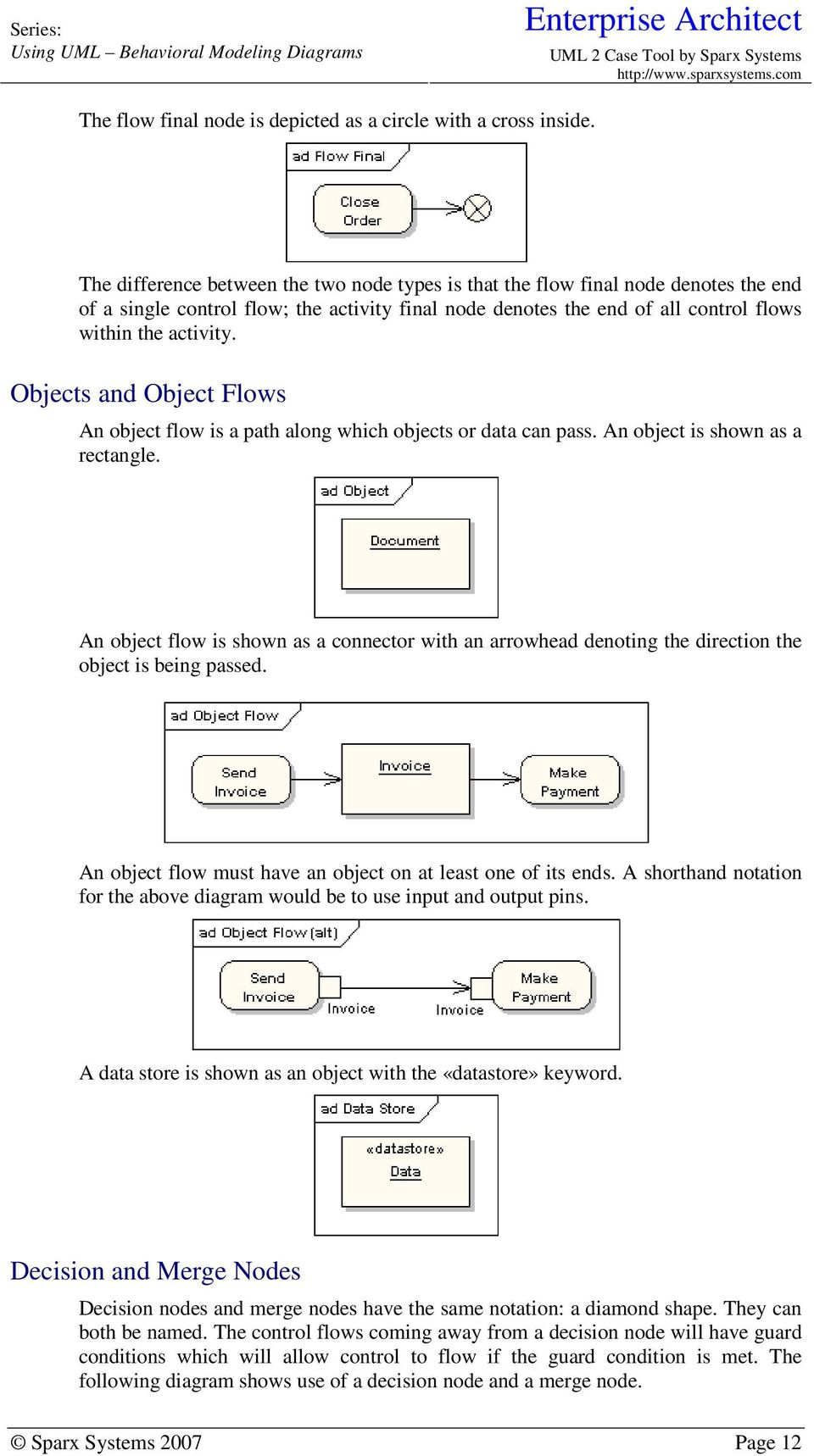 Objects and Object Flows An object flow is a path along which objects or data can pass. An object is shown as a rectangle.