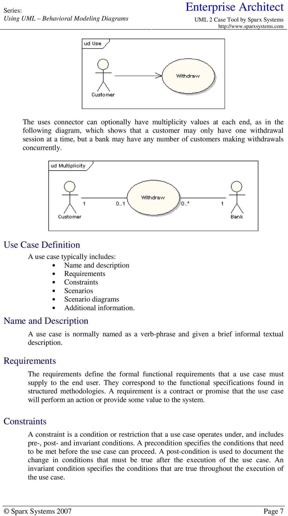 Use Case Definition A use case typically includes: Name and description Requirements Constraints Scenarios Scenario diagrams Additional information.