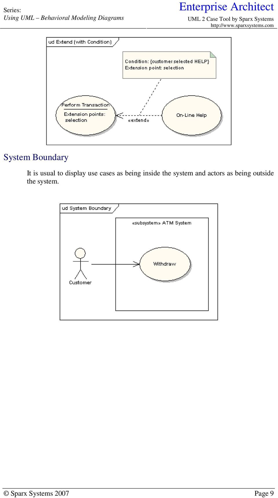 the system and actors as being
