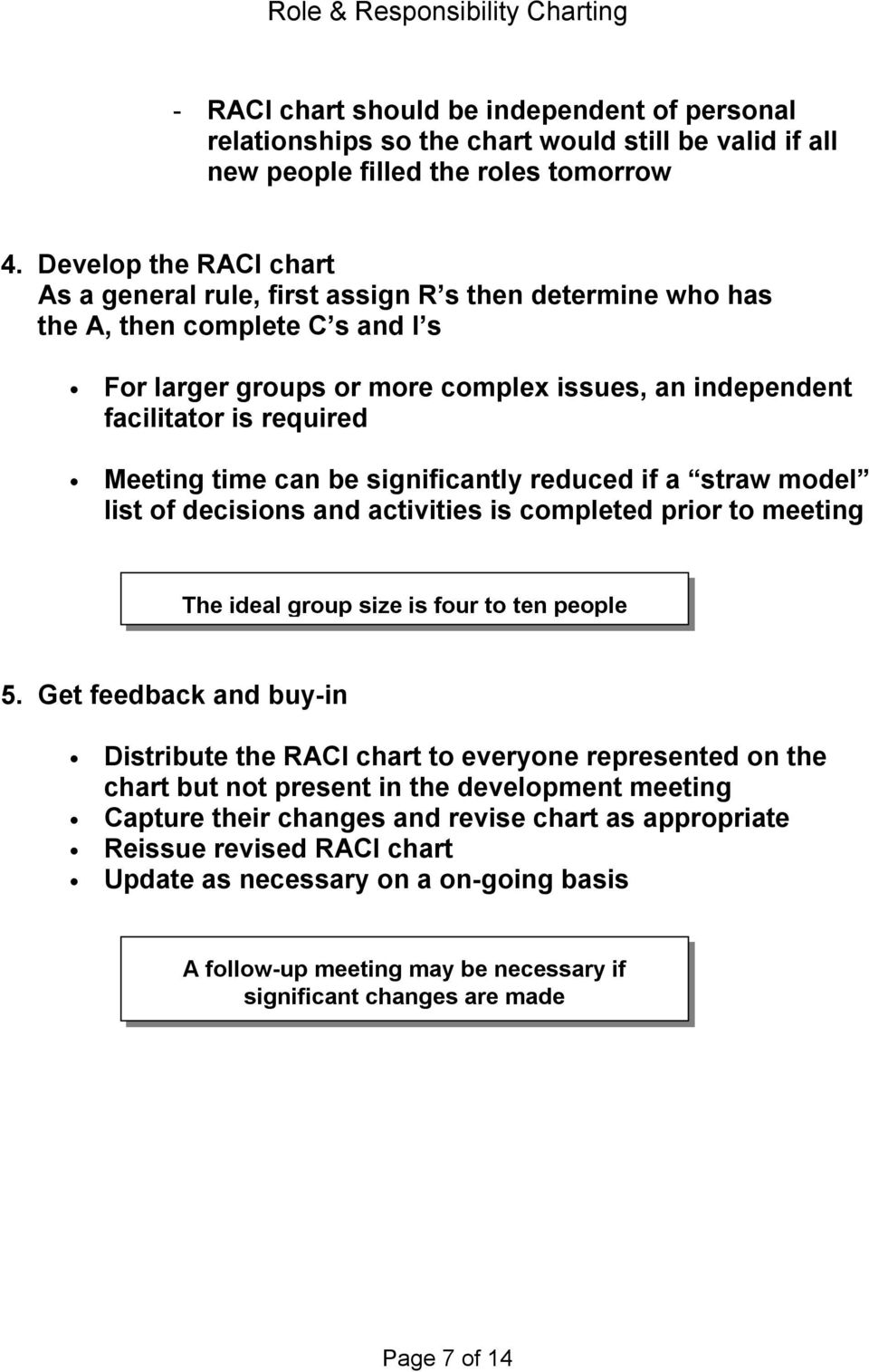 Meeting time can be significantly reduced if a straw model list of decisions and activities is completed prior to meeting The ideal group size is four to ten people 5.