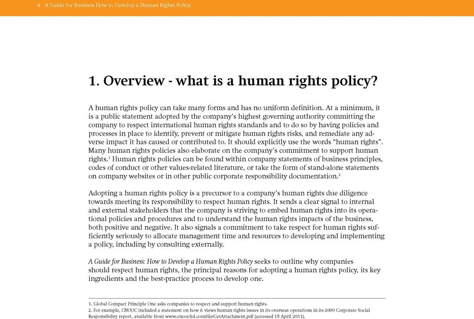 processes in place to identify, prevent or mitigate human rights risks, and remediate any adverse impact it has caused or contributed to. It should explicitly use the words human rights.