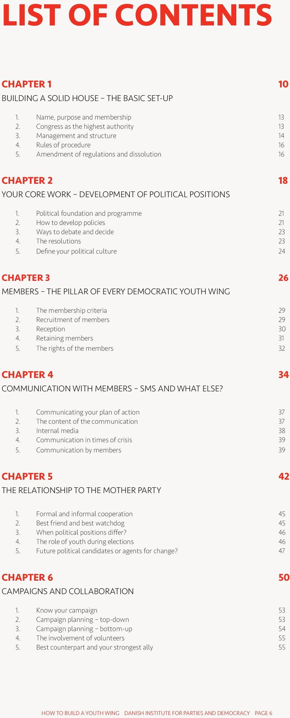 How to develop policies 21 3. Ways to debate and decide 23 4. The resolutions 23 5. Define your political culture 24 Chapter 3 26 MEMBERS THE PILLAR OF EVERY DEMOCRATIC YOUTH WING 1.
