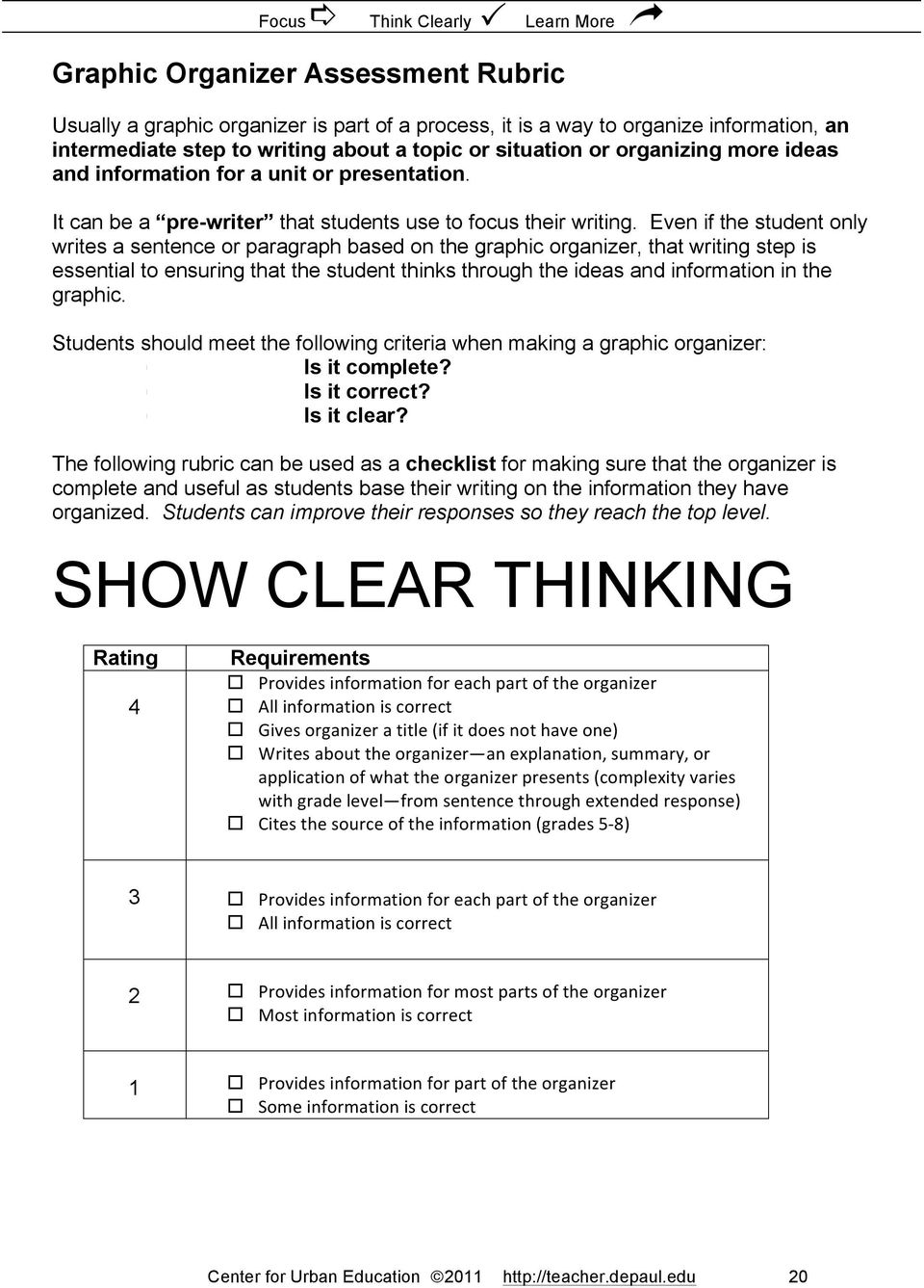 Even if the student only writes a sentence or paragraph based on the graphic organizer, that writing step is essential to ensuring that the student thinks through the ideas and information in the