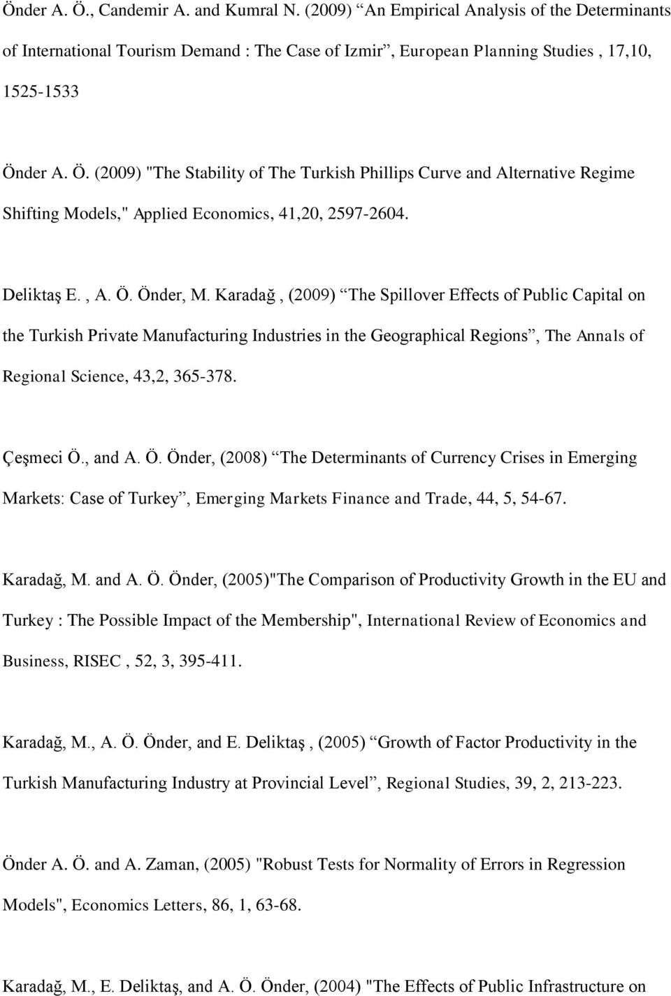 Karadağ, (2009) The Spillover Effects of Public Capital on the Turkish Private Manufacturing Industries in the Geographical Regions, The Annals of Regional Science, 43,2, 365-378. Çeşmeci Ö., and A.