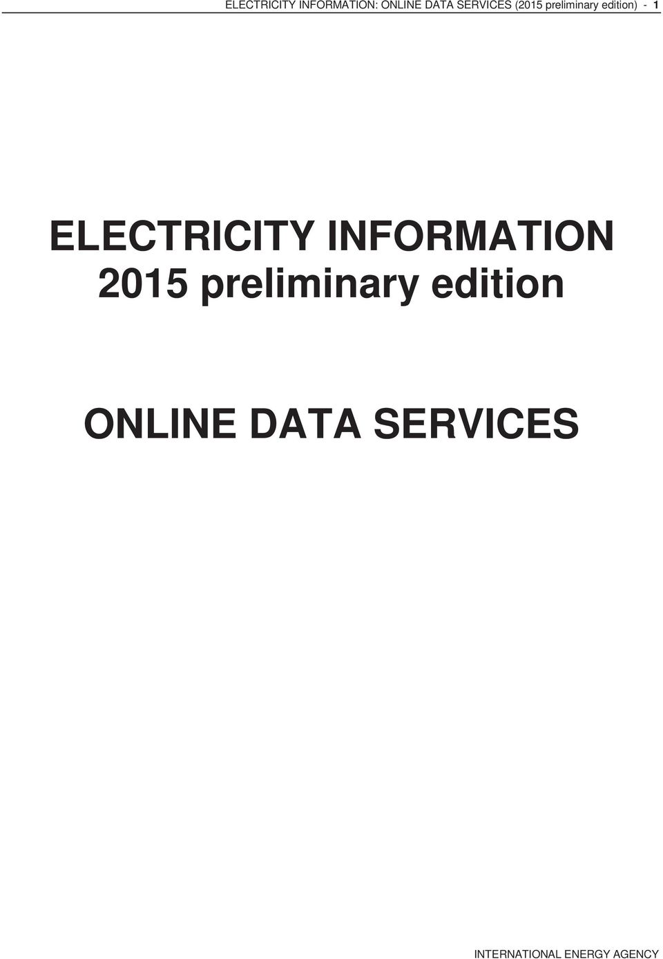- 1 ELECTRICITY INFORMATION 2015