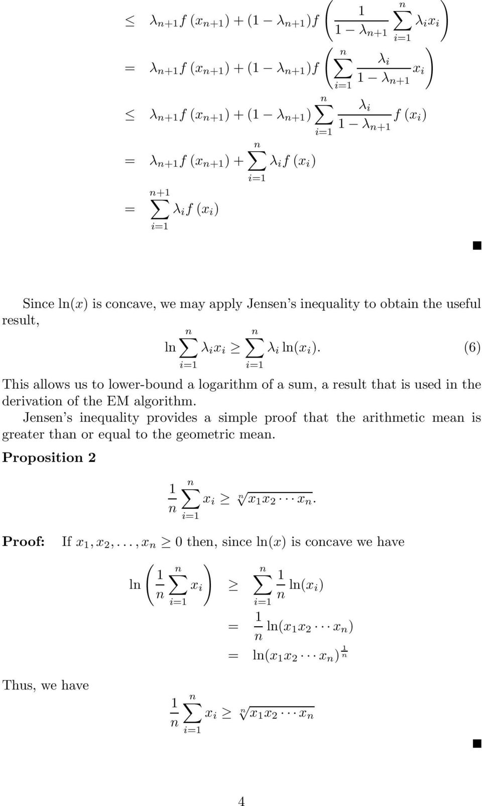 (6 This allows us to lower-bound a logarithm of a sum, a result that is used in the derivation of the EM algorithm.