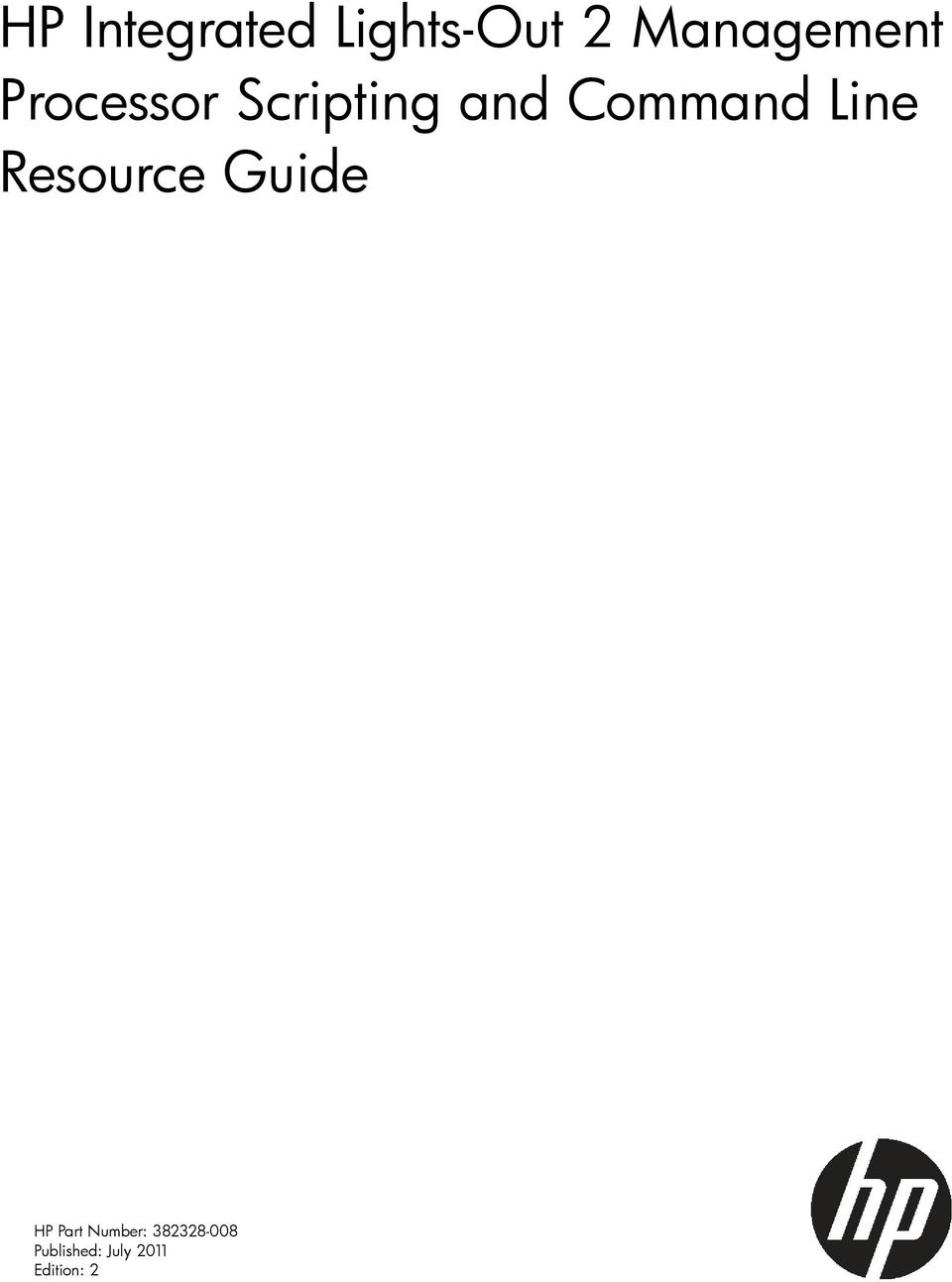 Command Line Resource Guide HP Part