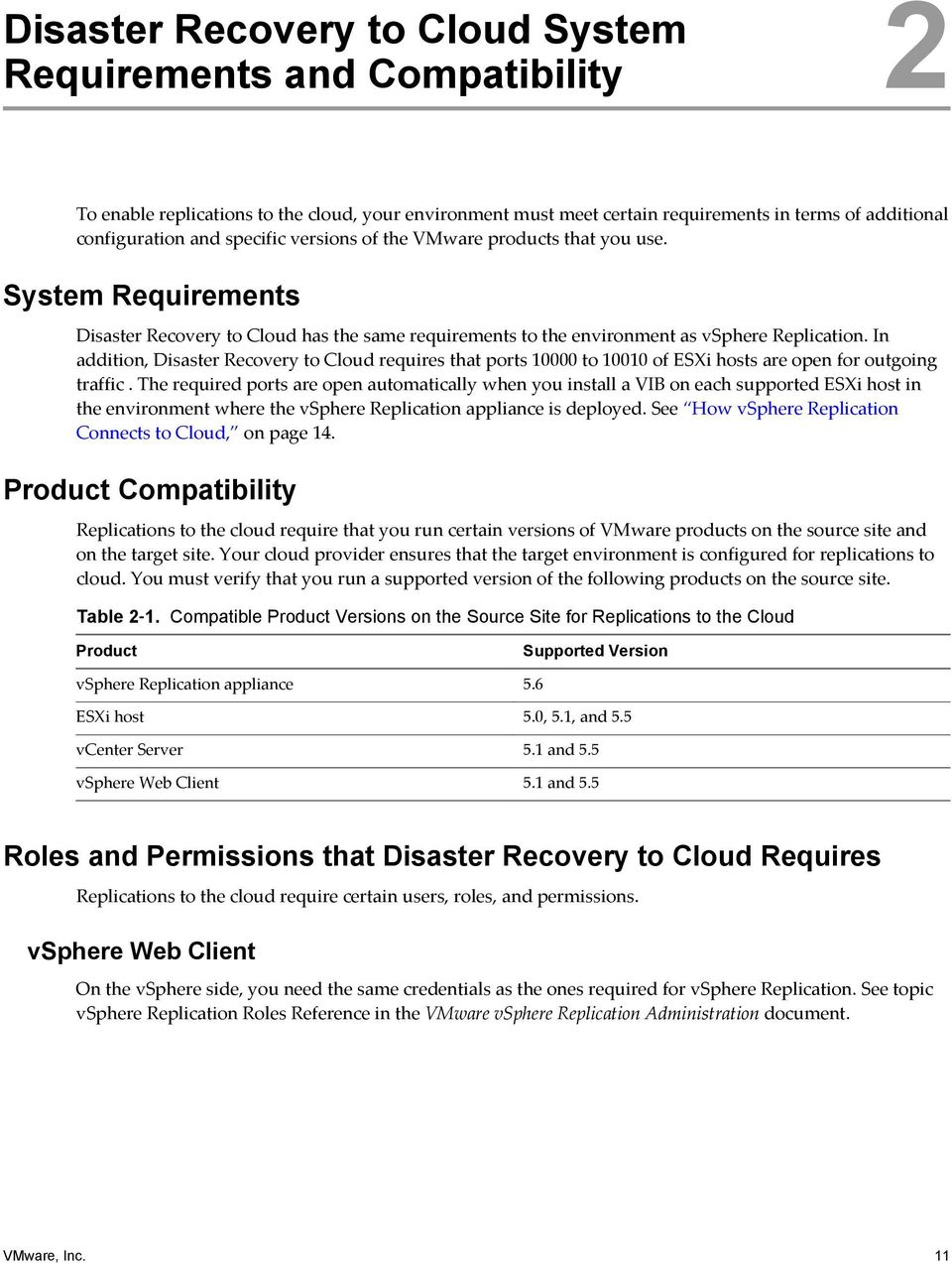 In addition, Disaster Recovery to Cloud requires that ports 10000 to 10010 of ESXi hosts are open for outgoing traffic.