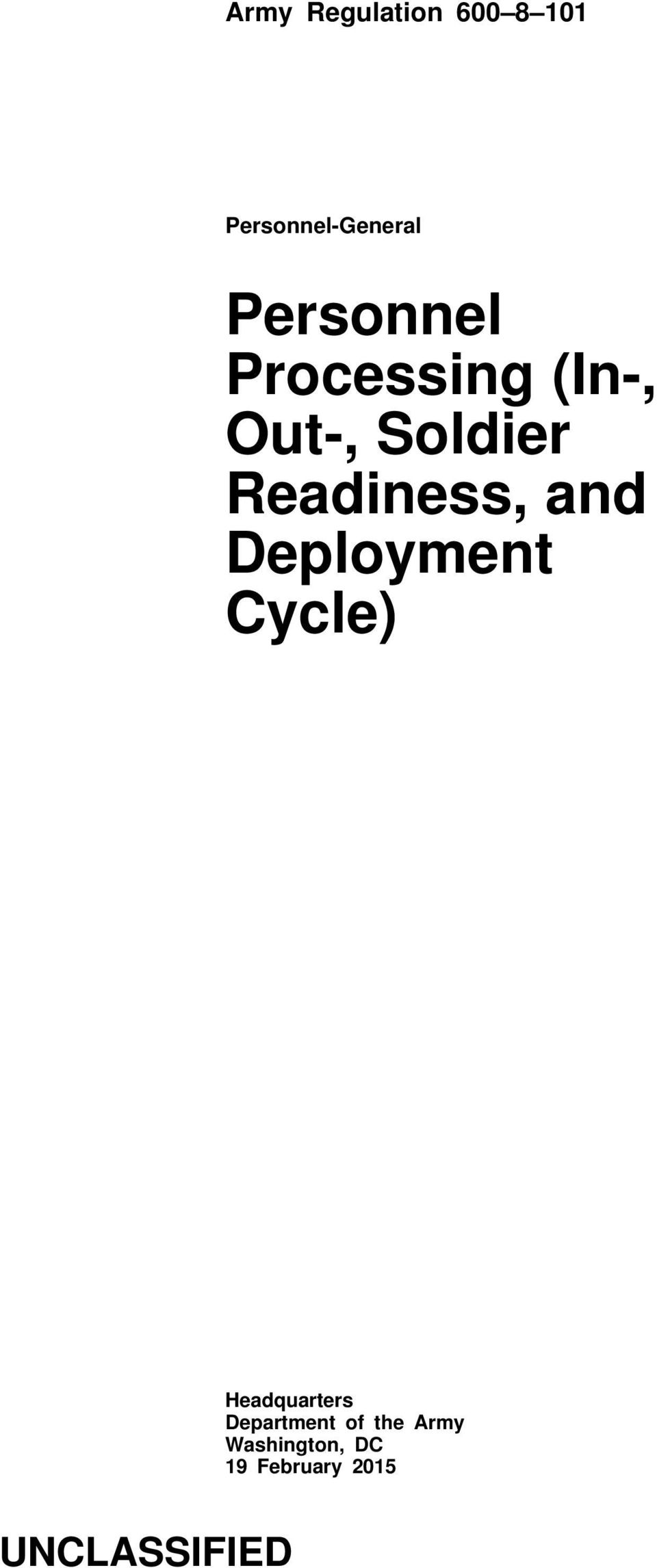 Readiness, and Deployment Cycle) Headquarters