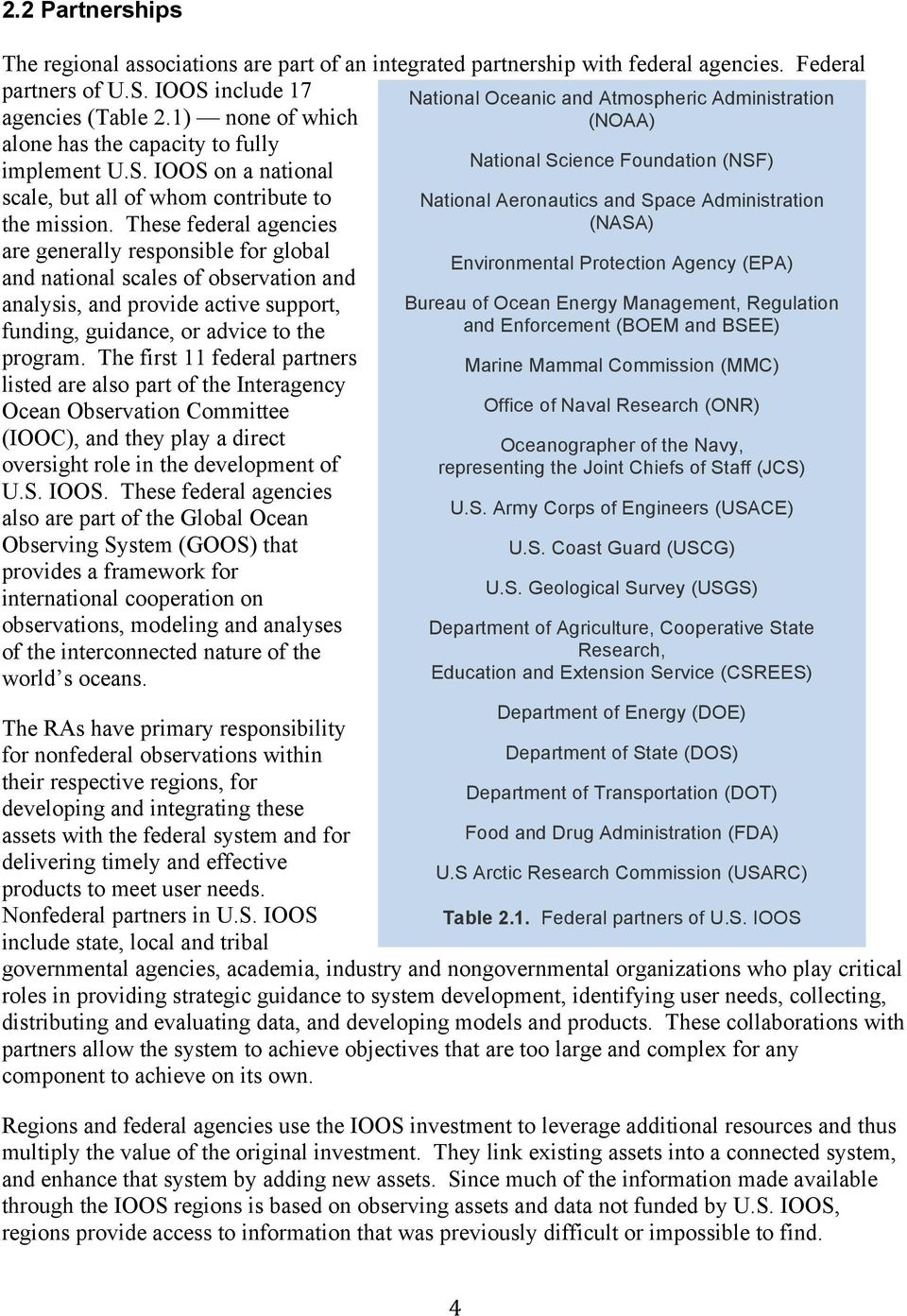These federal agencies (NASA) are generally responsible for global Environmental Protection Agency (EPA) and national scales of observation and analysis, and provide active support, Bureau of Ocean