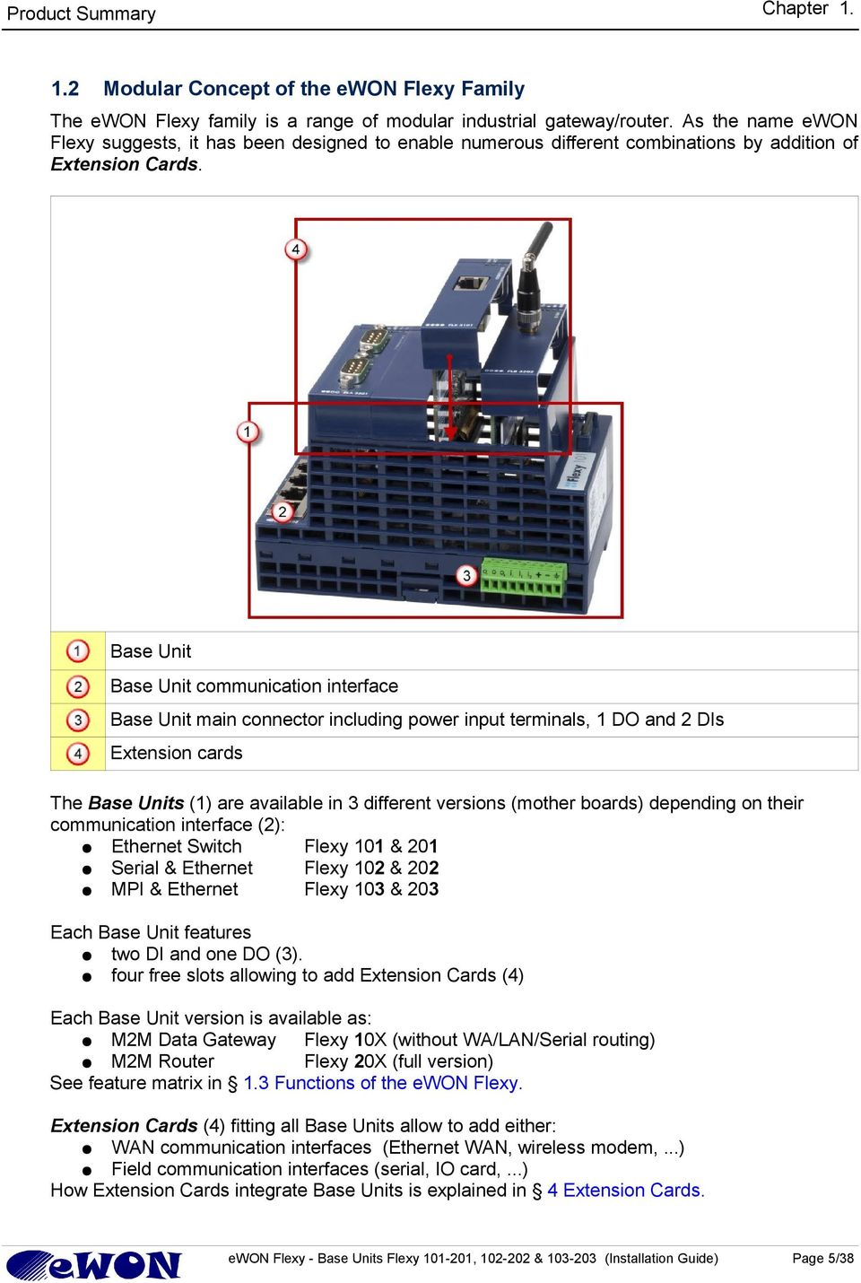 Base Unit Base Unit communication interface Base Unit main connector including power input terminals, 1 DO and 2 DIs Extension cards The Base Units (1) are available in 3 different versions (mother