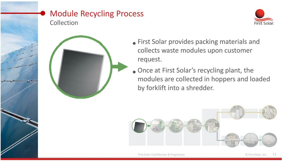 Once at First Solar s recycling plant, the modules are collectedin hoppers