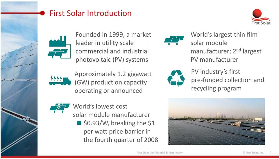 2 gigawatt (GW) production capacity operating or announced World s largest thin film solar module manufacturer; 2 nd largest PV