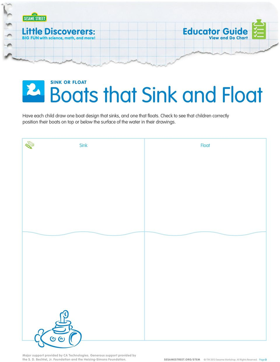 Check to see that children correctly position their boats on top or below