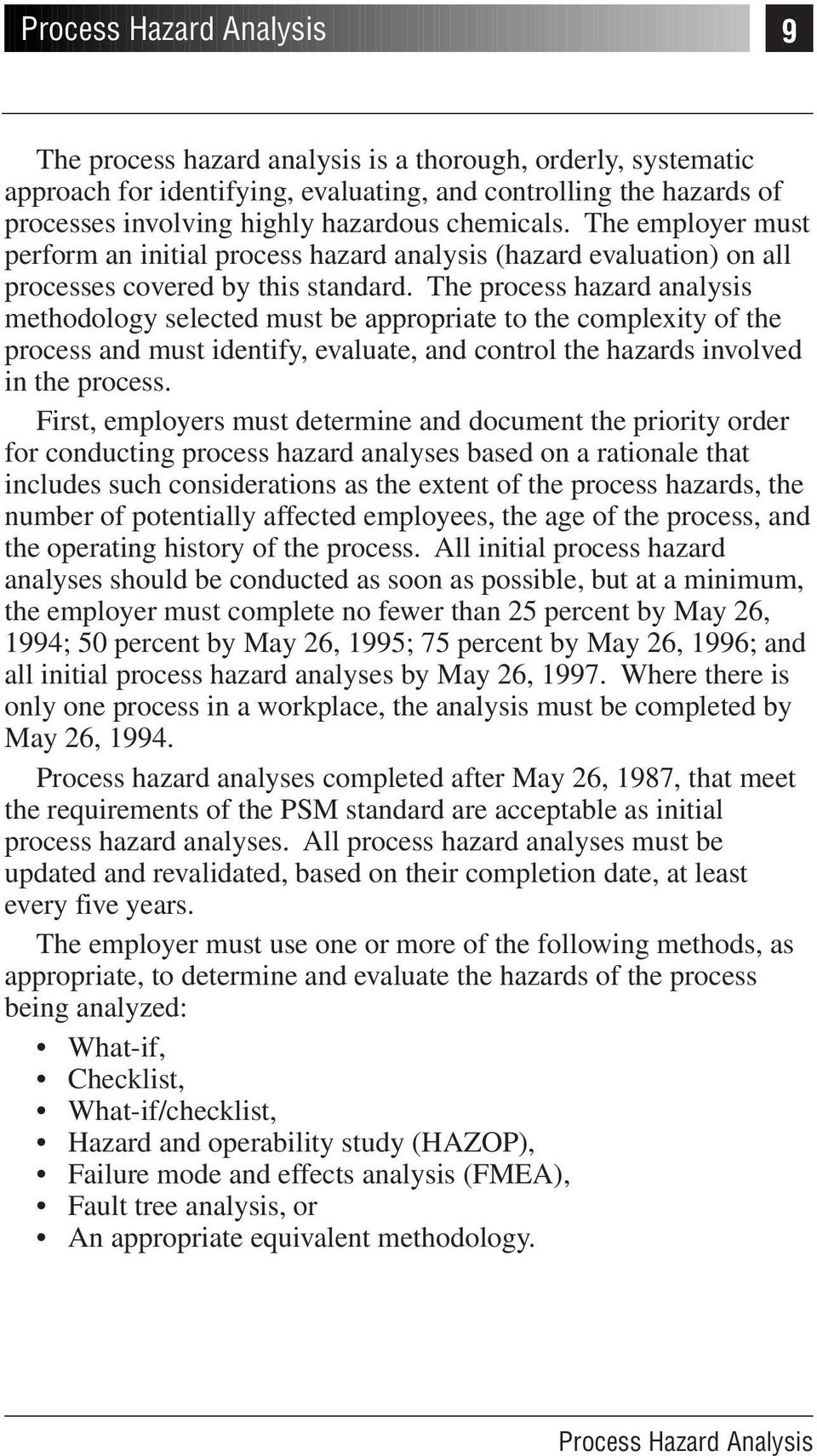 The process hazard analysis methodology selected must be appropriate to the complexity of the process and must identify, evaluate, and control the hazards involved in the process.