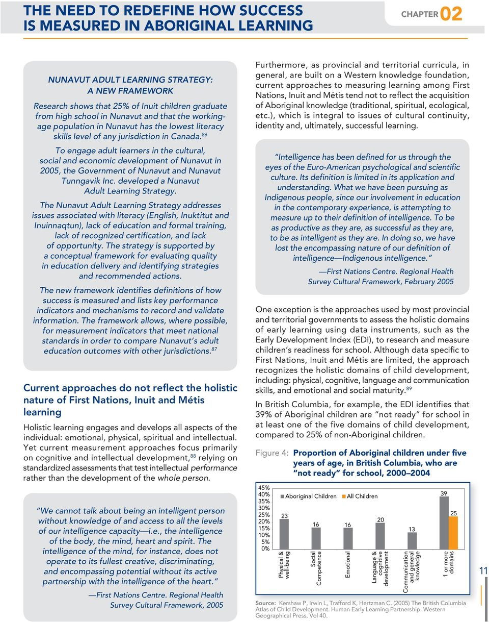 86 To engage adult learners in the cultural, social and economic development of Nunavut in 2005, the Government of Nunavut and Nunavut Tunngavik Inc. developed a Nunavut Adult Strategy.