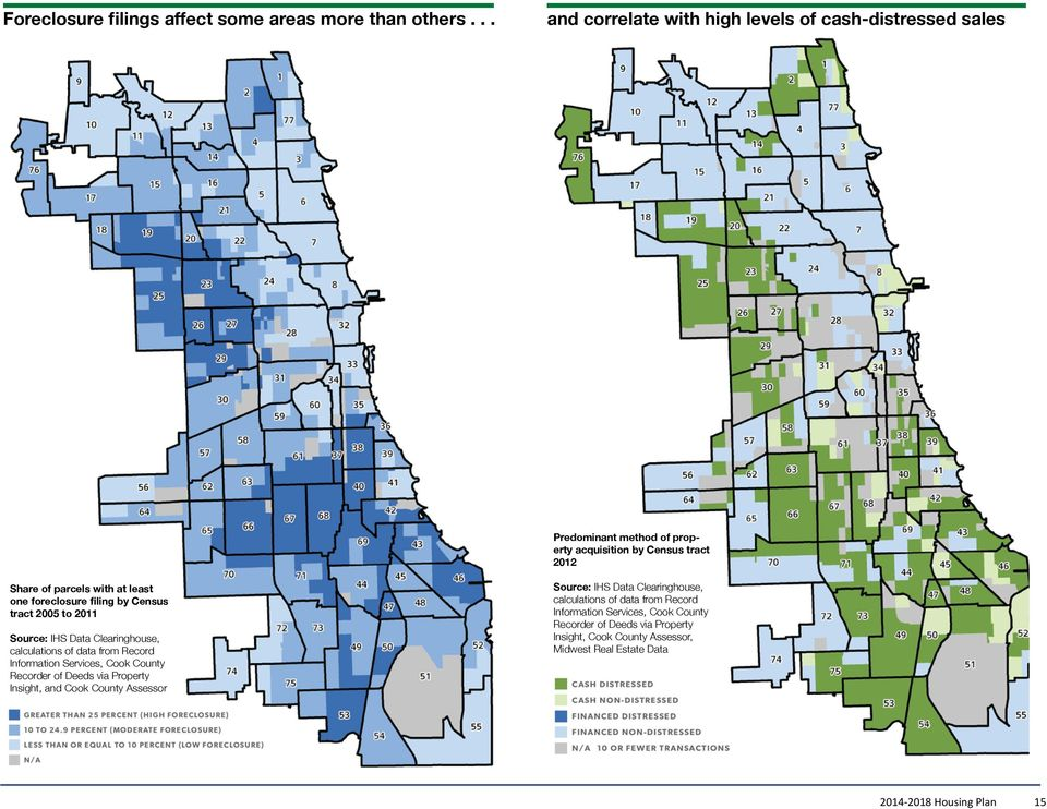 foreclosure filing by Census tract 2005 to 2011 Source: IHS Data Clearinghouse, calculations of data from Record Information Services, Cook County Recorder of