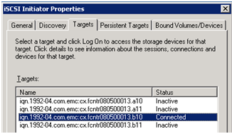 Troubleshooting Basic FCoE and CEE Problems and Case Studies Figure 108 shows that Host A has performed login to the iscsi target device and it was able to see