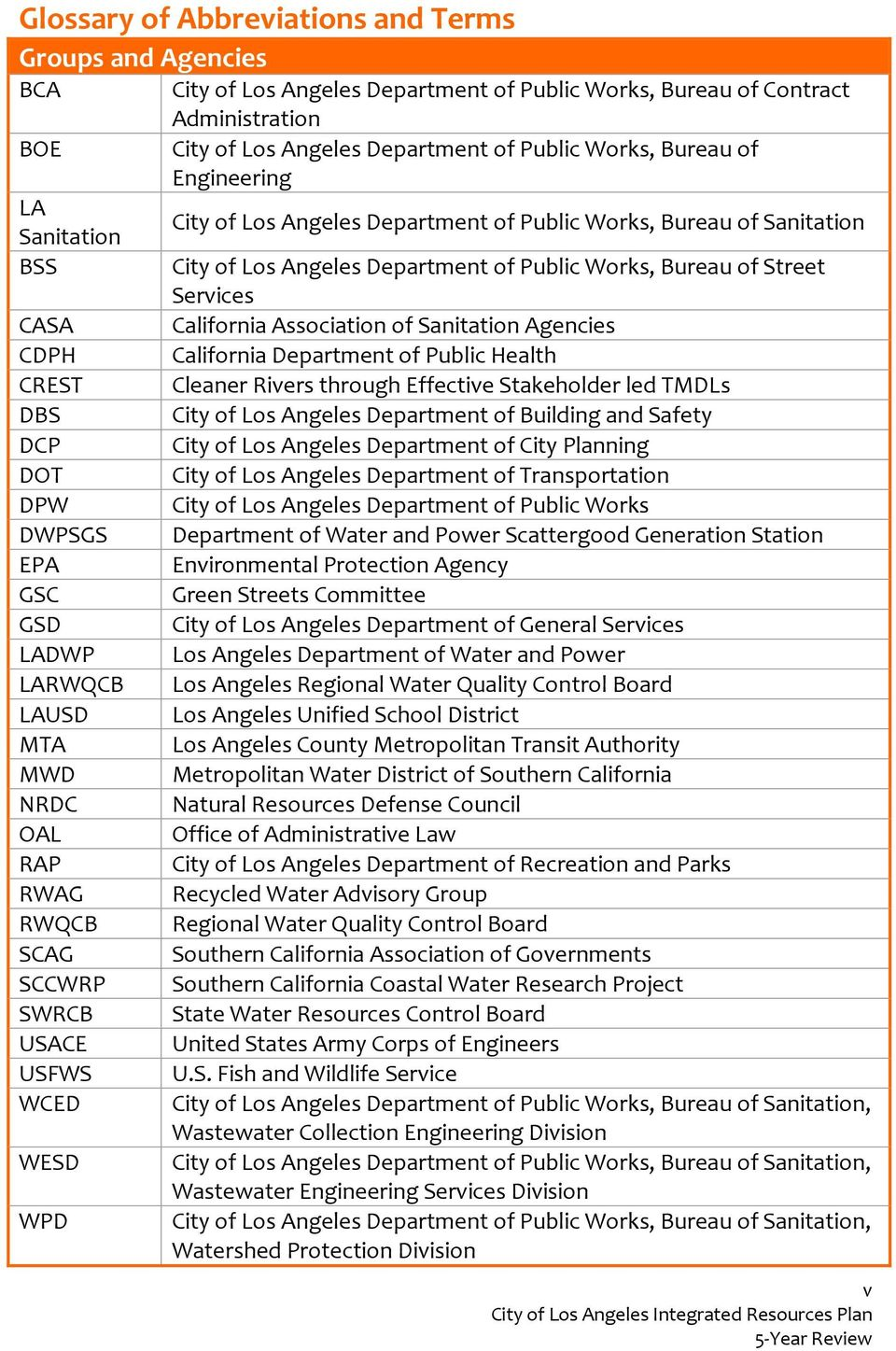 Association of Sanitation Agencies CDPH California Department of Public Health CREST Cleaner Rivers through Effective Stakeholder led TMDLs DBS City of Los Angeles Department of Building and Safety