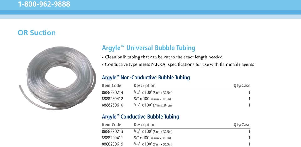 "specifications for use with flammable agents Argyle Non-Conductive Bubble Tubing 8888280214 3 / 16"" x 100' (5mm x 30."
