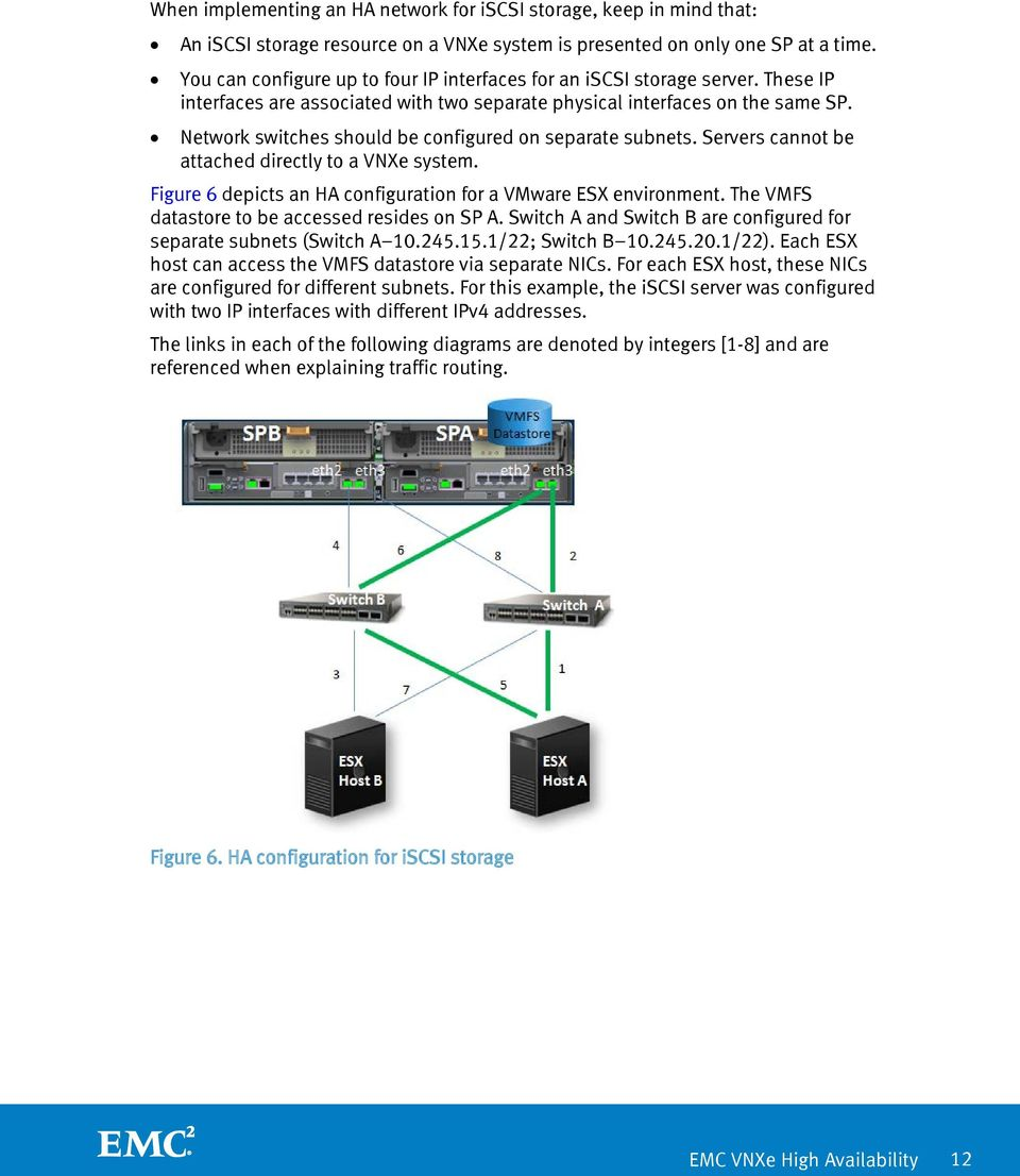 Network switches should be configured on separate subnets. Servers cannot be attached directly to a VNXe system. Figure 6 depicts an HA configuration for a VMware ESX environment.